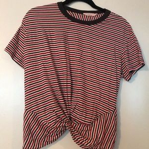 Stripped Tee with Faux Tie Front